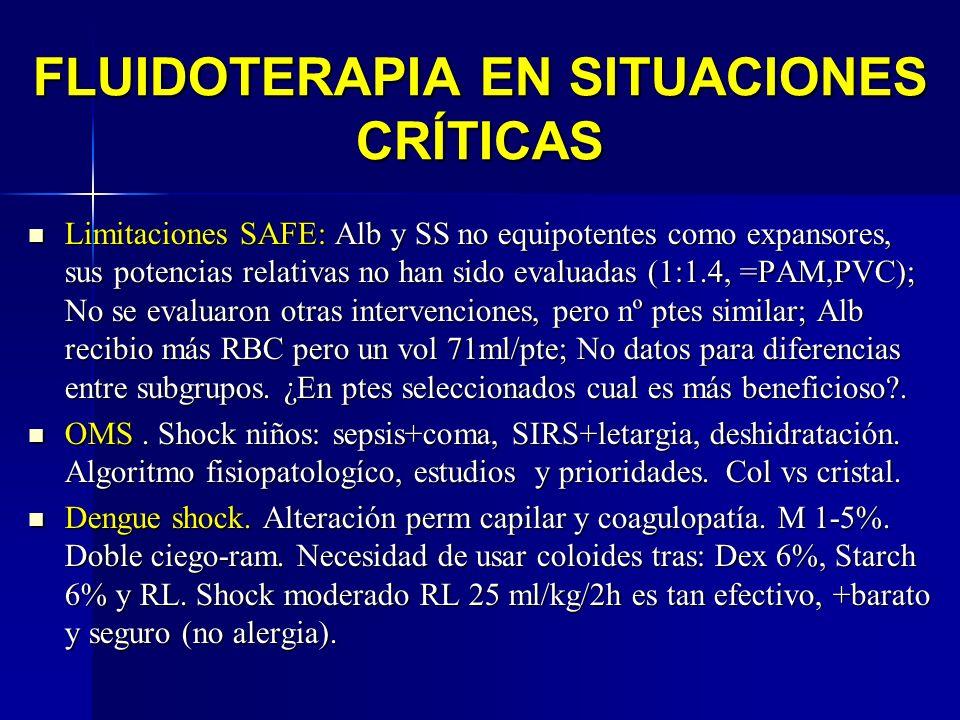 FLUIDOTERAPIA EN SITUACIONES CRÍTICAS Limitaciones SAFE: Alb y SS no equipotentes como expansores, sus potencias relativas no han sido evaluadas (1:1.
