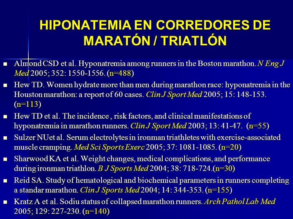 HIPONATEMIA EN CORREDORES DE MARATÓN / TRIATLÓN Almond CSD et al. Hyponatremia among runners in the Boston marathon. N Eng J Med 2005; 352: 1550-1556.