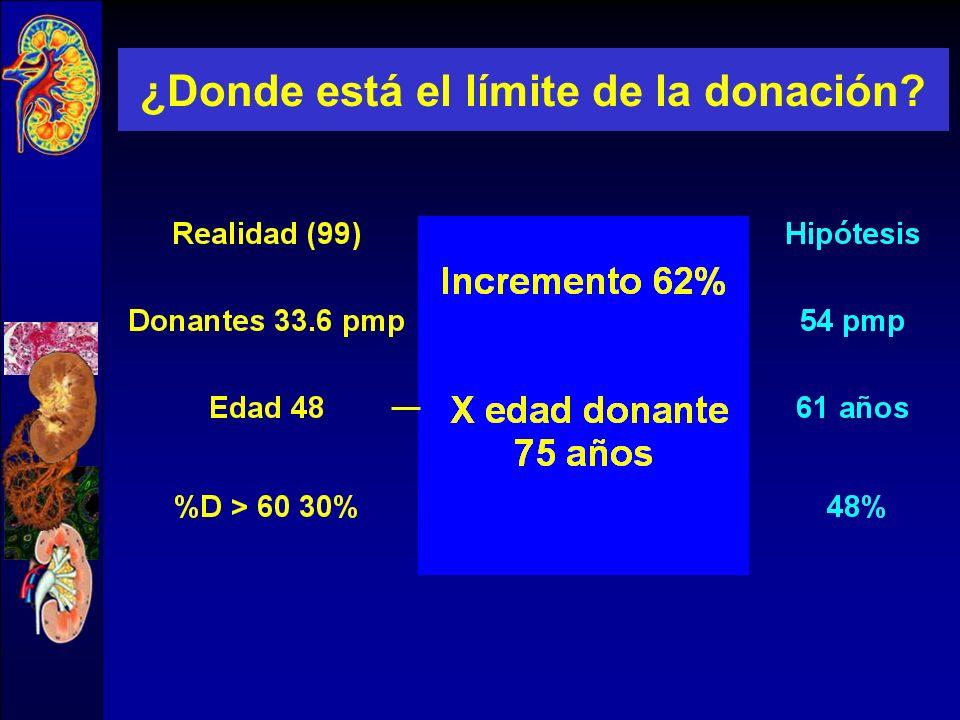 Donantes potenciales sin límite de edad Muertes cerebrales / Exitus Incremento del 62% Andrés et al Transplant. Proc 1999,31 Hipótesis Hipótesis 24+15