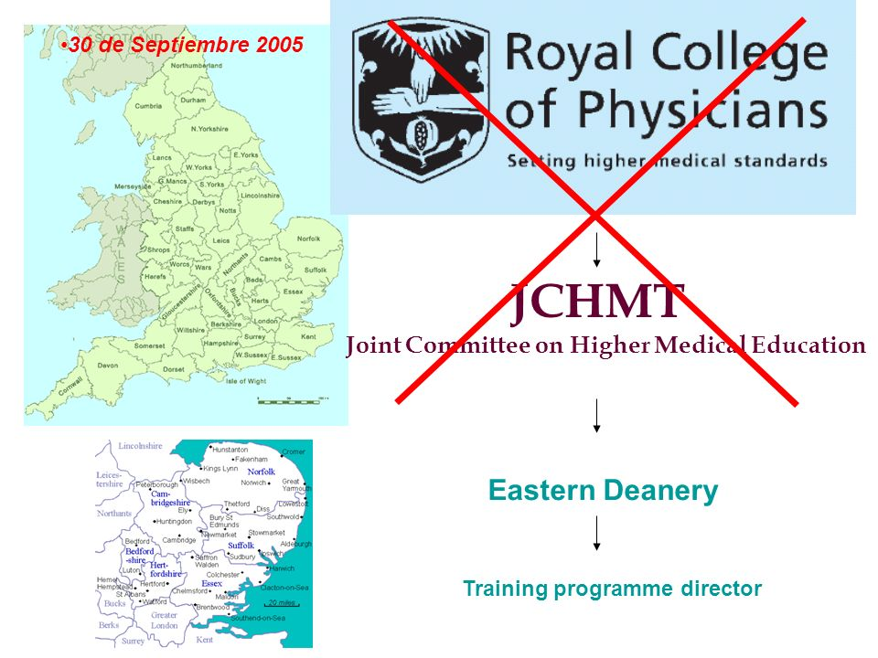 JCHMT Joint Committee on Higher Medical Education Eastern Deanery Training programme director 30 de Septiembre 2005