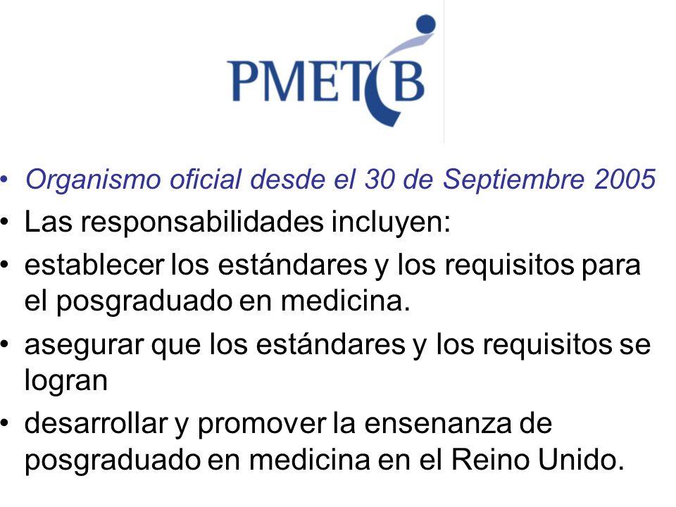 Organismo oficial desde el 30 de Septiembre 2005 Las responsabilidades incluyen: establecer los estándares y los requisitos para el posgraduado en med