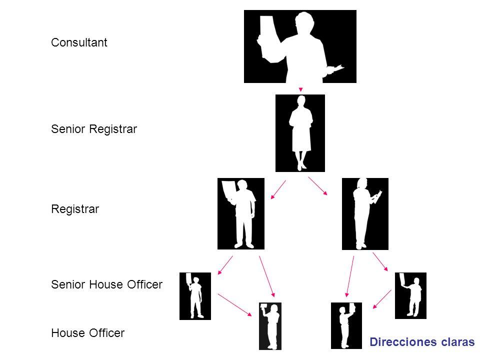 Consultant Senior Registrar Registrar Senior House Officer House Officer Direcciones claras