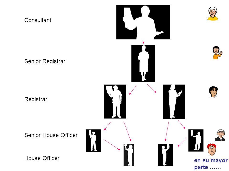 Consultant Senior Registrar Registrar Senior House Officer House Officer en su mayor parte ……