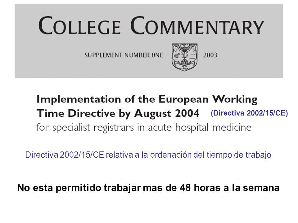 Directiva 2002/15/CE relativa a la ordenación del tiempo de trabajo No esta permitido trabajar mas de 48 horas a la semana (Directiva 2002/15/CE)