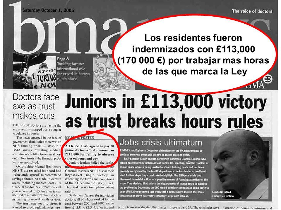 Los residentes fueron indemnizados con £113,000 (170 000 ) por trabajar mas horas de las que marca la Ley