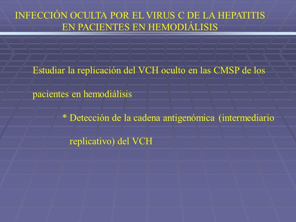 INFECCIÓN OCULTA POR EL VIRUS C DE LA HEPATITIS EN PACIENTES EN HEMODIÁLISIS Estudiar la replicación del VCH oculto en las CMSP de los pacientes en he