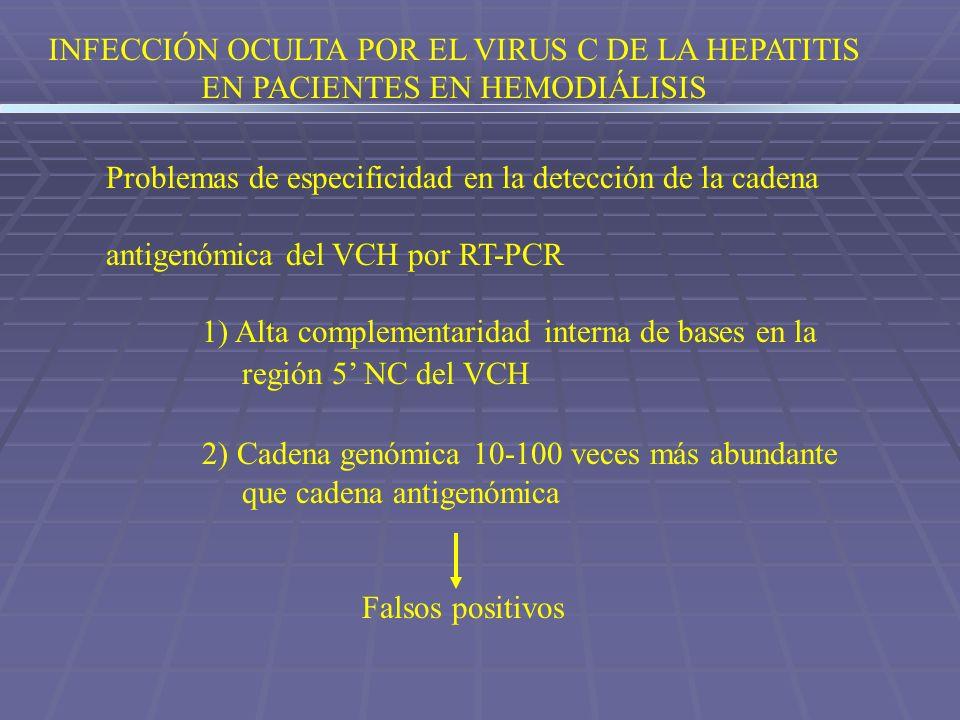 INFECCIÓN OCULTA POR EL VIRUS C DE LA HEPATITIS EN PACIENTES EN HEMODIÁLISIS Problemas de especificidad en la detección de la cadena antigenómica del