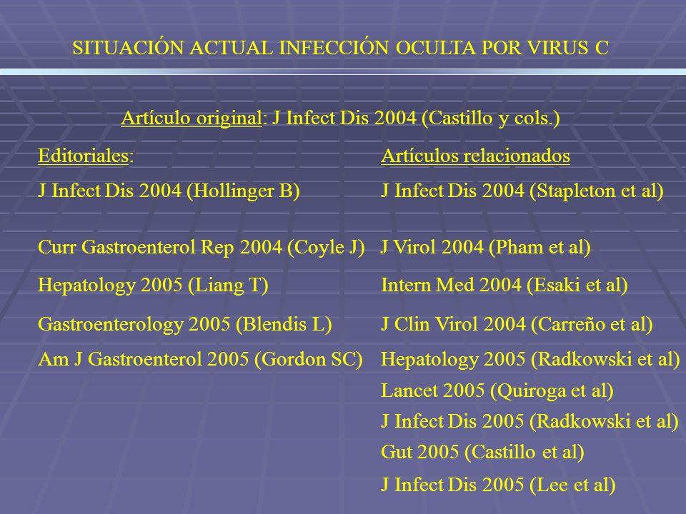 SITUACIÓN ACTUAL INFECCIÓN OCULTA POR VIRUS C Artículo original: J Infect Dis 2004 (Castillo y cols.) Editoriales:Artículos relacionados J Infect Dis