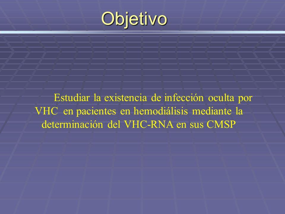 Objetivo Estudiar la existencia de infección oculta por VHC en pacientes en hemodiálisis mediante la determinación del VHC-RNA en sus CMSP