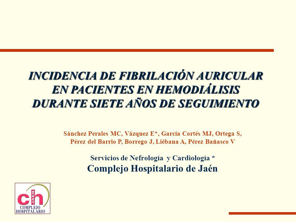 Introducción Fibrilación auricular (FA): arritmia sostenida más frecuente Relevante problema social y sanitario Patología cardiovascular en diálisis: alta prevalencia.
