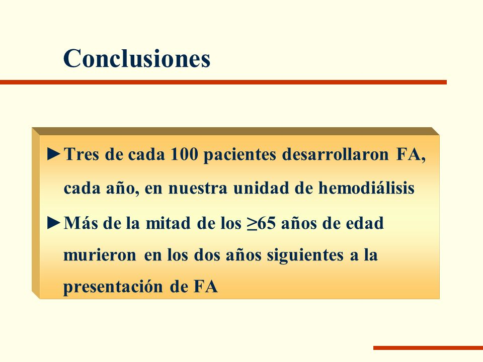 Conclusiones Tres de cada 100 pacientes desarrollaron FA, cada año, en nuestra unidad de hemodiálisis Más de la mitad de los 65 años de edad murieron
