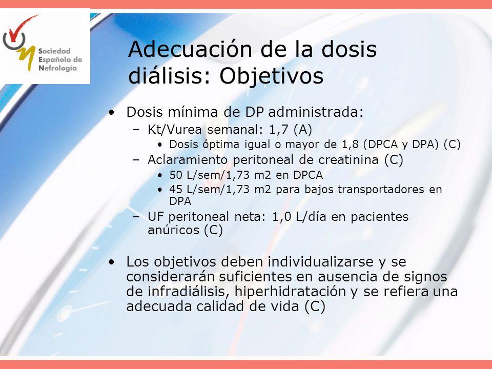 Adecuación de la dosis diálisis: Objetivos Dosis mínima de DP administrada: –Kt/Vurea semanal: 1,7 (A) Dosis óptima igual o mayor de 1,8 (DPCA y DPA)