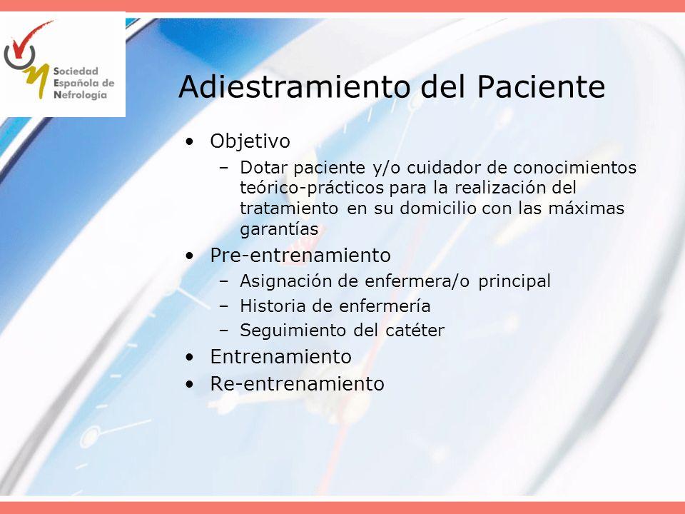 Adecuación de la dosis diálisis: Objetivos Dosis mínima de DP administrada: –Kt/Vurea semanal: 1,7 (A) Dosis óptima igual o mayor de 1,8 (DPCA y DPA) (C) –Aclaramiento peritoneal de creatinina (C) 50 L/sem/1,73 m2 en DPCA 45 L/sem/1,73 m2 para bajos transportadores en DPA –UF peritoneal neta: 1,0 L/día en pacientes anúricos (C) Los objetivos deben individualizarse y se considerarán suficientes en ausencia de signos de infradiálisis, hiperhidratación y se refiera una adecuada calidad de vida (C)