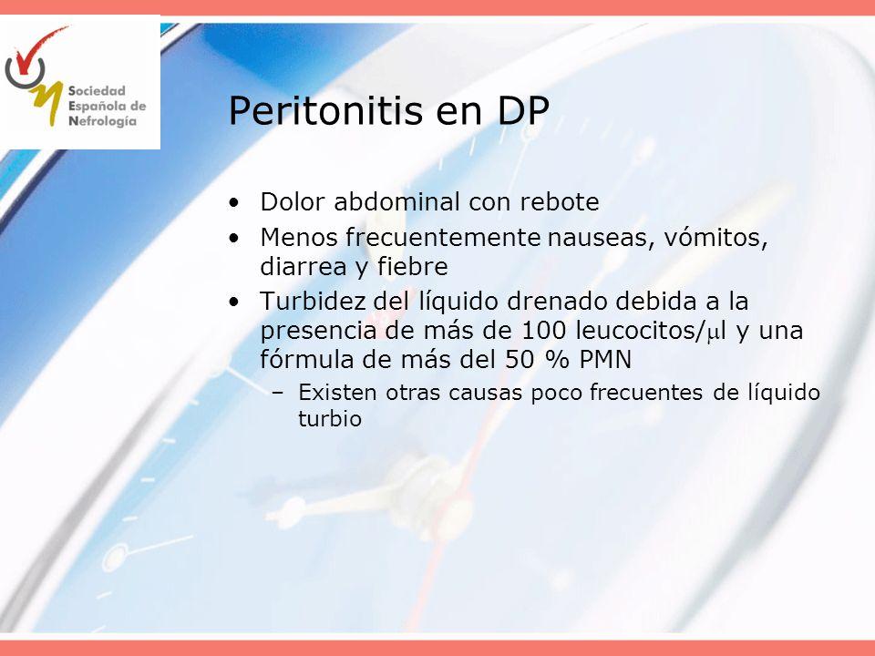 Peritonitis en DP Dolor abdominal con rebote Menos frecuentemente nauseas, vómitos, diarrea y fiebre Turbidez del líquido drenado debida a la presenci