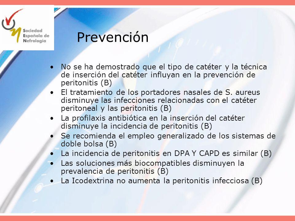 Prevención No se ha demostrado que el tipo de catéter y la técnica de inserción del catéter influyan en la prevención de peritonitis (B) El tratamient