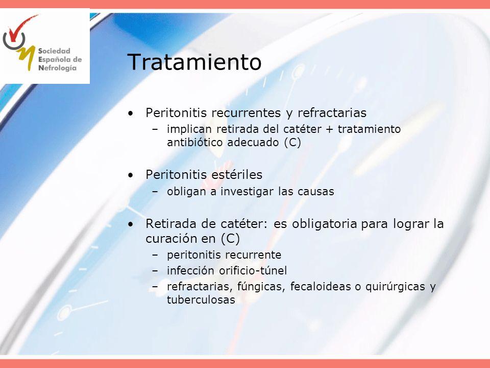 Tratamiento Peritonitis recurrentes y refractarias –implican retirada del catéter + tratamiento antibiótico adecuado (C) Peritonitis estériles –obliga