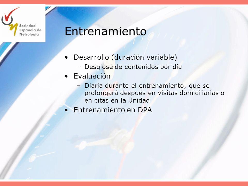 Entrenamiento Desarrollo (duración variable) –Desglose de contenidos por día Evaluación –Diaria durante el entrenamiento, que se prolongará después en