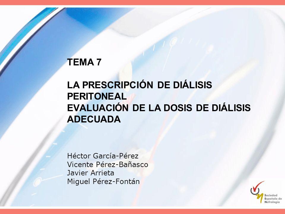 Factores Determinantes Prescripción Características del paciente Factores relacionados con la técnica Factores relacionados con la solución de diálisis