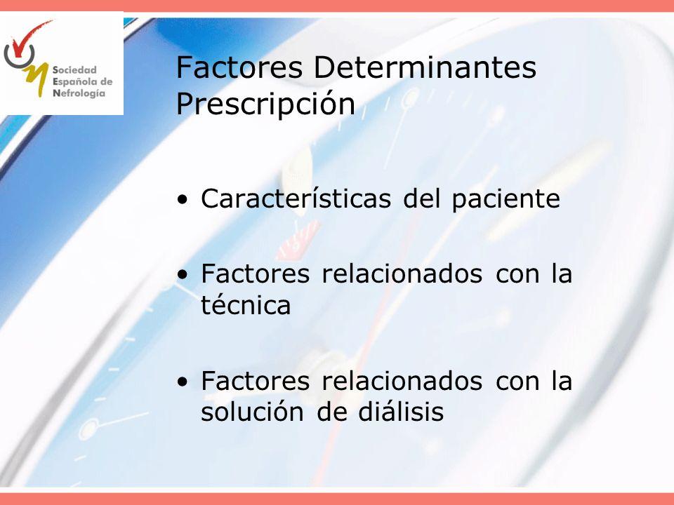 Características del paciente que influyen en la prescripción de DP FRR contribuye significativamente al aclaramiento total de solutos y de la eliminación de agua (A) Características antropométricas (Vdu,SC) Características del peritoneo (TEP)
