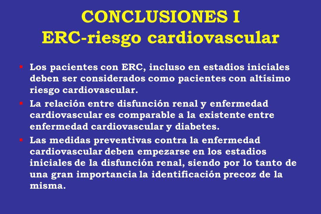 CONCLUSIONES I ERC-riesgo cardiovascular Los pacientes con ERC, incluso en estadios iniciales deben ser considerados como pacientes con altísimo riesg