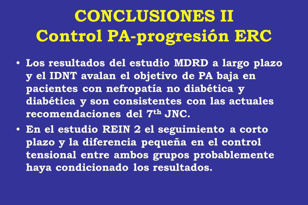 CONCLUSIONES II Control PA-progresión ERC Los resultados del estudio MDRD a largo plazo y el IDNT avalan el objetivo de PA baja en pacientes con nefro