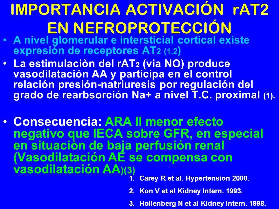 IMPORTANCIA ACTIVACIÓN rAT2 EN NEFROPROTECCIÓN A nivel glomerular e intersticial cortical existe expresión de receptores AT 2 (1,2 ) La estimulaciòn d