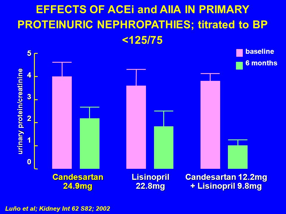 EFFECTS OF ACEi and AIIA IN PRIMARY PROTEINURIC NEPHROPATHIES; titrated to BP <125/75 Luño et al; Kidney Int 62 S82; 2002 543210 baseline 6 months Can