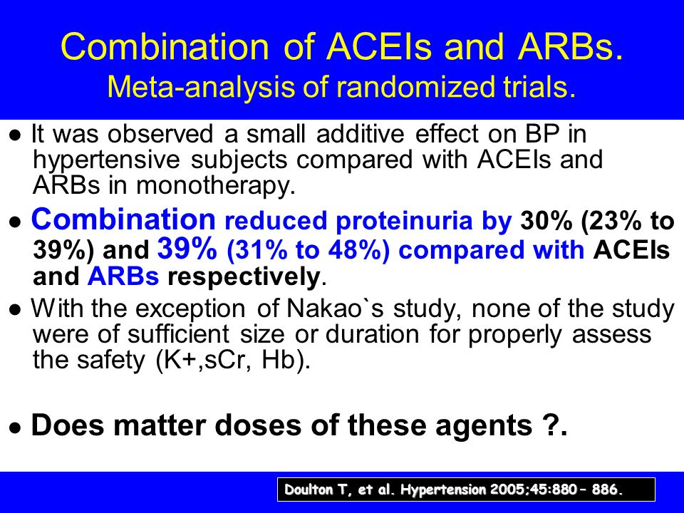 Combination of ACEIs and ARBs. Meta-analysis of randomized trials. It was observed a small additive effect on BP in hypertensive subjects compared wit