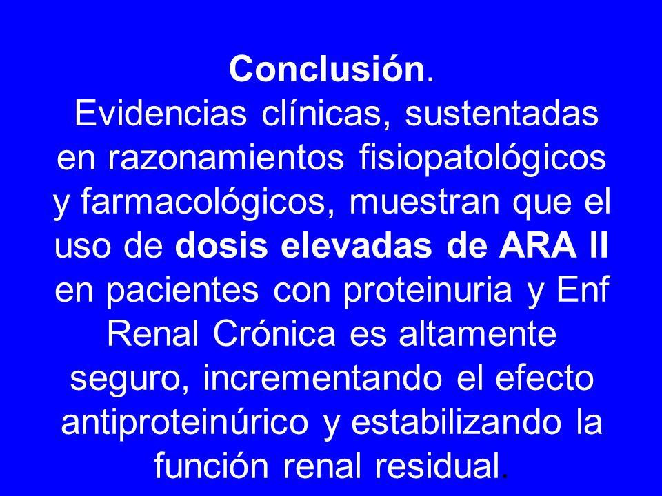 Conclusión. Evidencias clínicas, sustentadas en razonamientos fisiopatológicos y farmacológicos, muestran que el uso de dosis elevadas de ARA II en pa