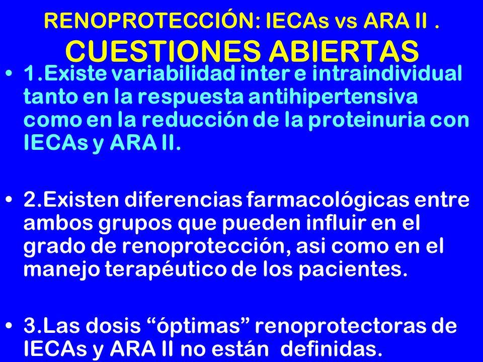 RENOPROTECCIÓN: IECAs vs ARA II. CUESTIONES ABIERTAS 1.Existe variabilidad inter e intraindividual tanto en la respuesta antihipertensiva como en la r