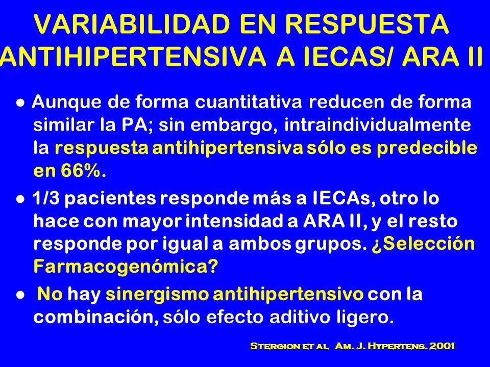 VARIABILIDAD EN RESPUESTA ANTIHIPERTENSIVA A IECAS/ ARA II Aunque de forma cuantitativa reducen de forma similar la PA; sin embargo, intraindividualme
