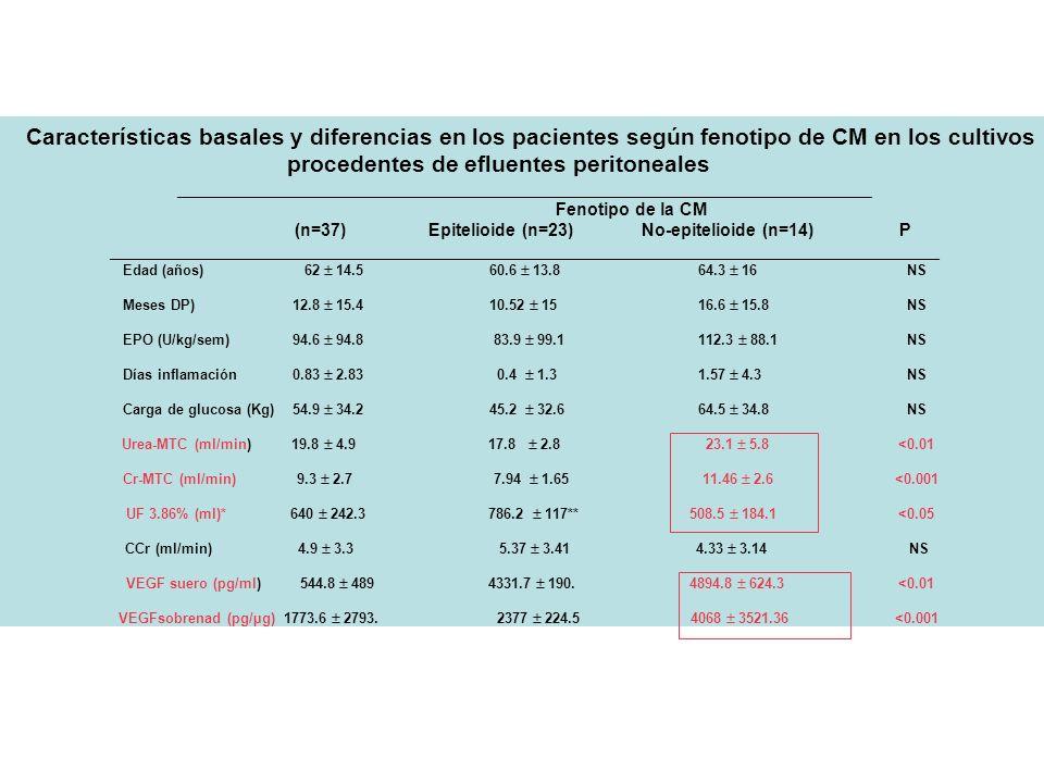 Características basales y diferencias en los pacientes según fenotipo de CM en los cultivos procedentes de efluentes peritoneales ____________________