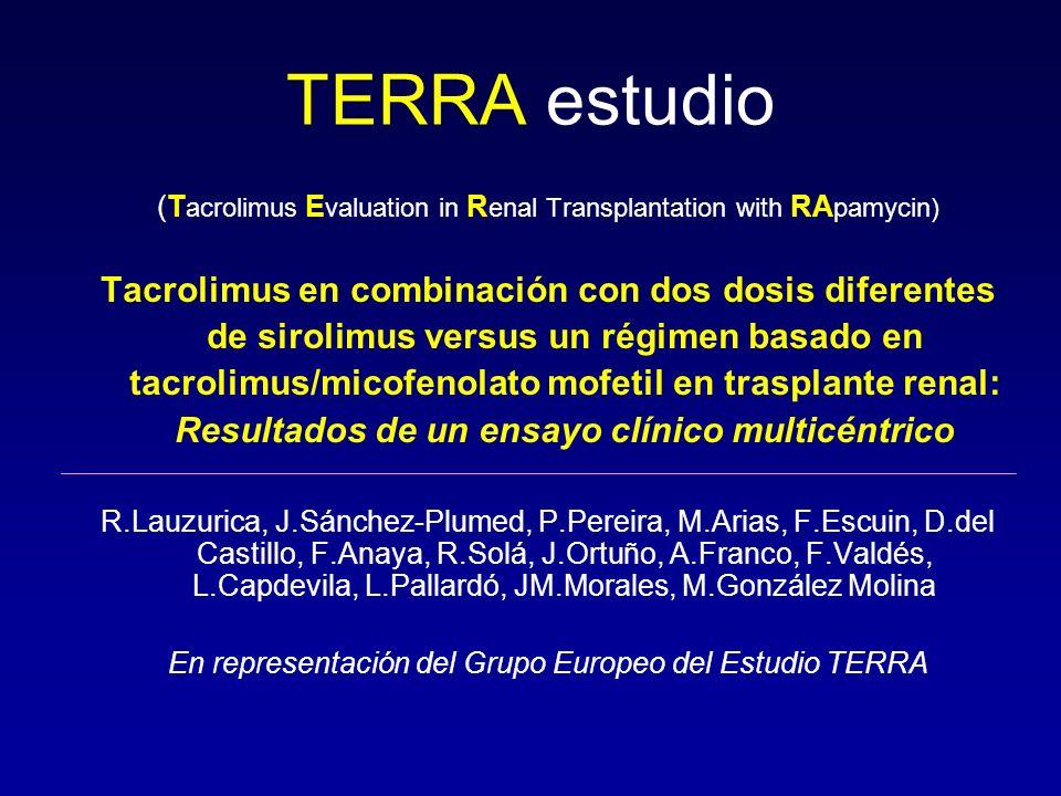 TERRA estudio (T acrolimus E valuation in R enal Transplantation with RA pamycin) Tacrolimus en combinación con dos dosis diferentes de sirolimus vers
