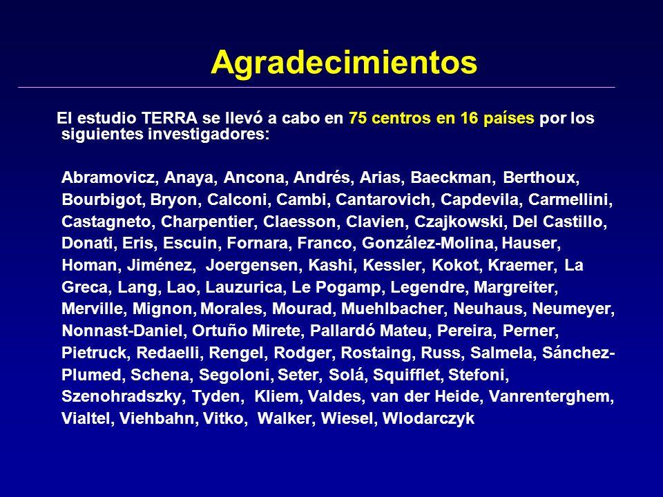 Agradecimientos El estudio TERRA se llevó a cabo en 75 centros en 16 países por los siguientes investigadores: Abramovicz, Anaya, Ancona, Andrés, Aria
