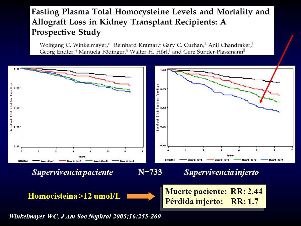 Homocisteina >12 umol/L Muerte paciente: RR: 2.44 Pérdida injerto: RR: 1.7 Muerte paciente: RR: 2.44 Pérdida injerto: RR: 1.7 Supervivencia paciente S