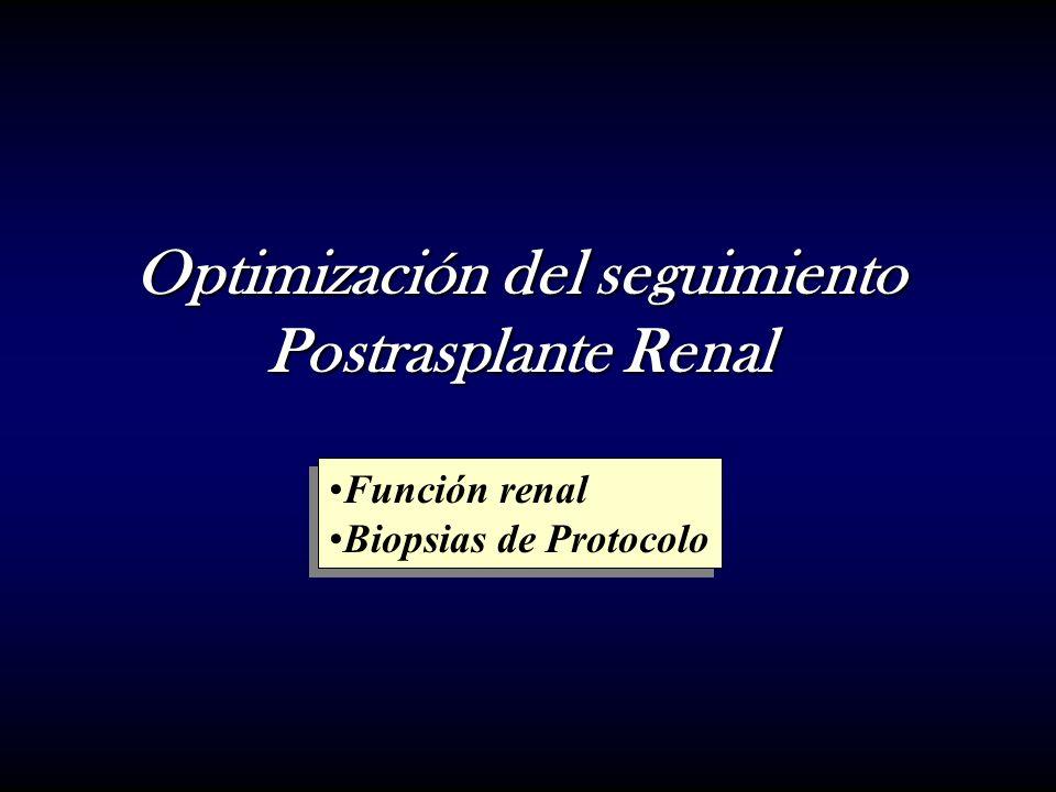 Optimización del seguimiento Postrasplante Renal Función renal Biopsias de Protocolo Función renal Biopsias de Protocolo
