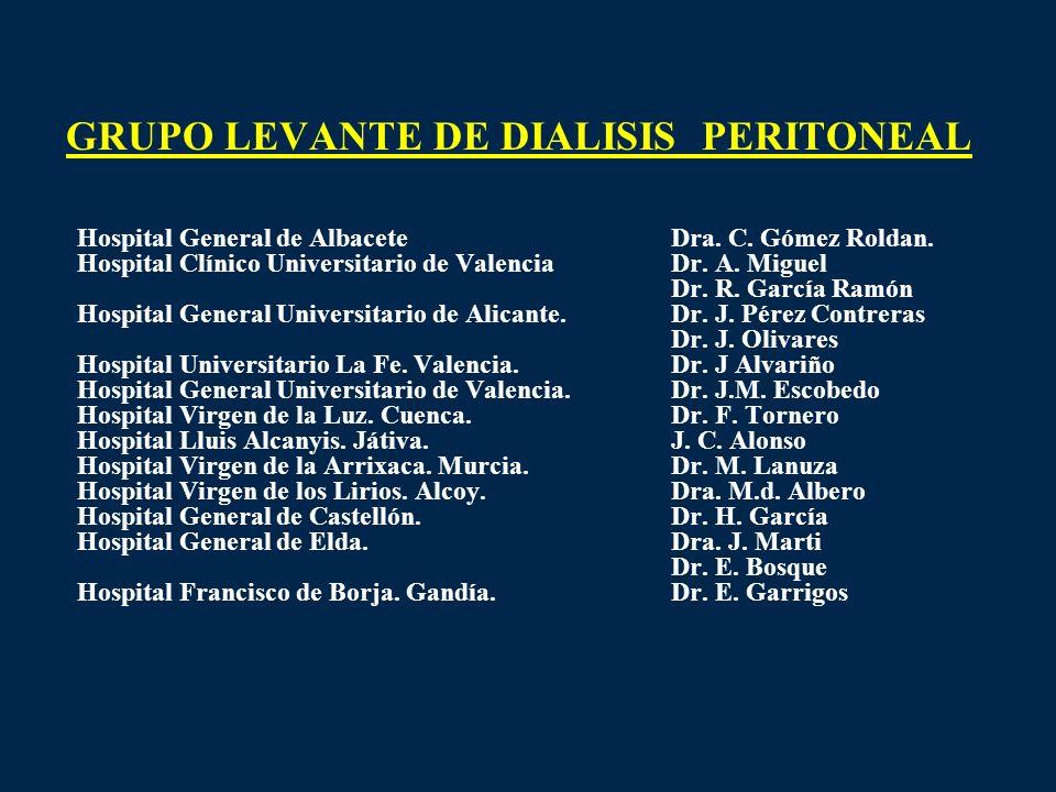 GRUPO LEVANTE DE DIALISIS PERITONEAL Hospital General de AlbaceteDra. C. Gómez Roldan. Hospital Clínico Universitario de ValenciaDr. A. Miguel Dr. R.