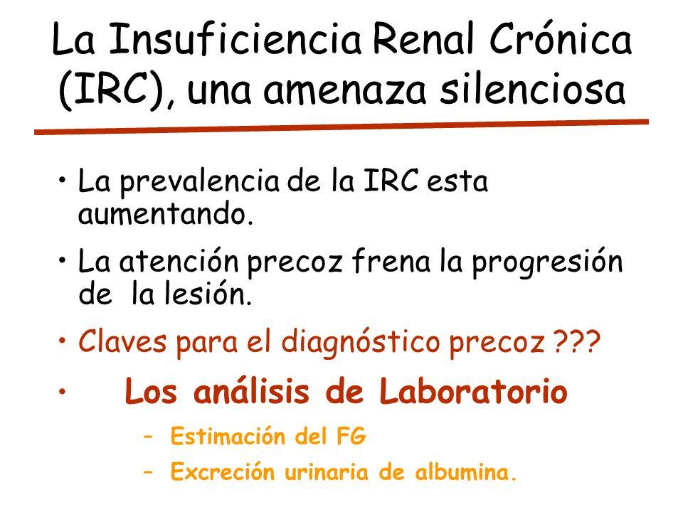 La Insuficiencia Renal Crónica (IRC), una amenaza silenciosa La prevalencia de la IRC esta aumentando. La atención precoz frena la progresión de la le