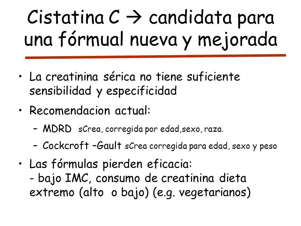 Cistatina C candidata para una fórmual nueva y mejorada La creatinina sérica no tiene suficiente sensibilidad y especificidad Recomendacion actual: –M