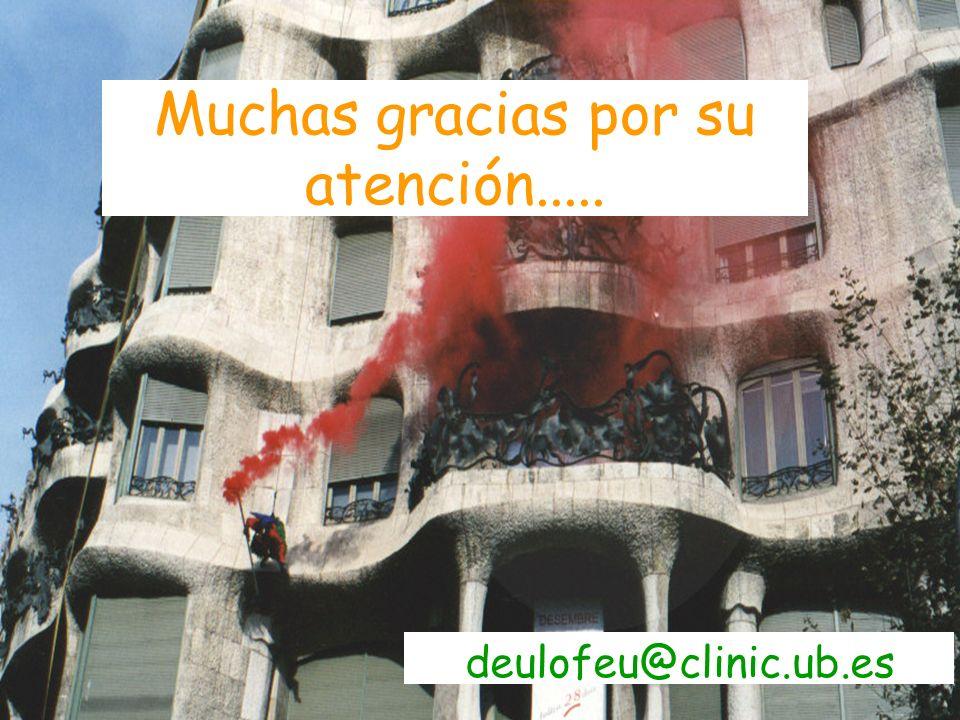 Muchas gracias por su atención..... deulofeu@clinic.ub.es