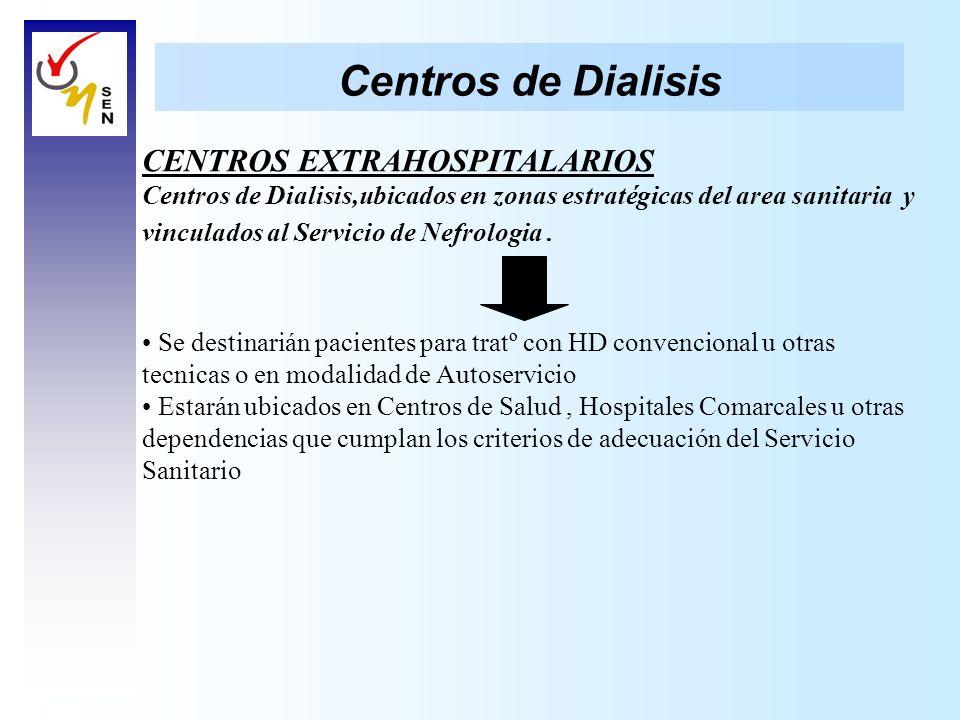 Centros de Dialisis CENTROS EXTRAHOSPITALARIOS Centros de Dialisis,ubicados en zonas estratégicas del area sanitaria y vinculados al Servicio de Nefro
