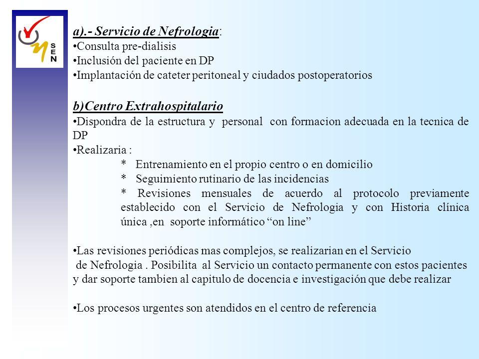 a).- Servicio de Nefrologia : Consulta pre-dialisis Inclusión del paciente en DP Implantación de cateter peritoneal y ciudados postoperatorios b)Centr