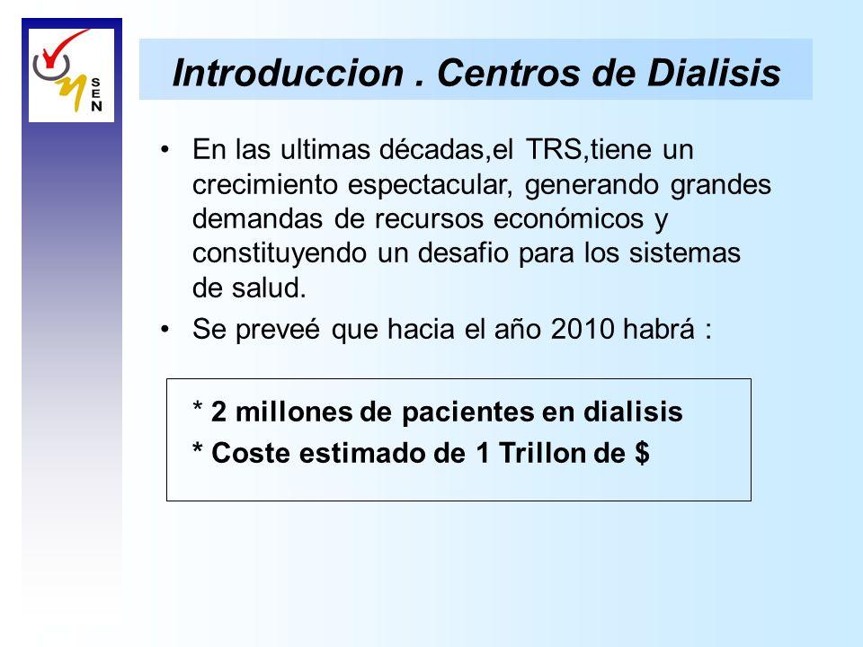 Introduccion. Centros de Dialisis En las ultimas décadas,el TRS,tiene un crecimiento espectacular, generando grandes demandas de recursos económicos y