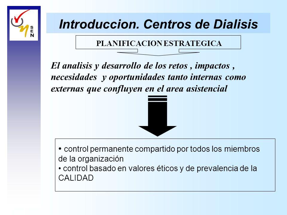Introduccion. Centros de Dialisis PLANIFICACION ESTRATEGICA El analisis y desarrollo de los retos, impactos, necesidades y oportunidades tanto interna