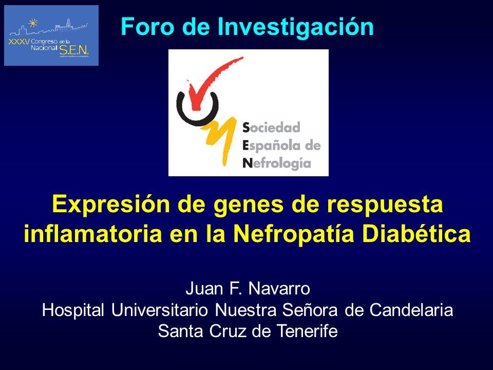 Foro de Investigación Expresión de genes de respuesta inflamatoria en la Nefropatía Diabética Juan F. Navarro Hospital Universitario Nuestra Señora de