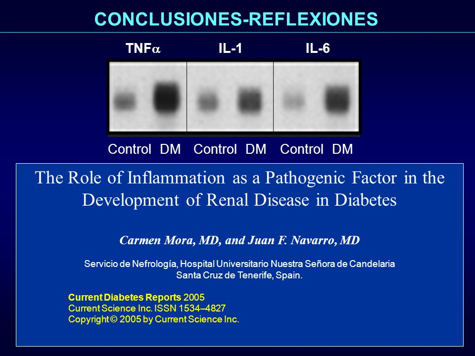 The Role of Inflammation as a Pathogenic Factor in the Development of Renal Disease in Diabetes Carmen Mora, MD, and Juan F. Navarro, MD Servicio de N