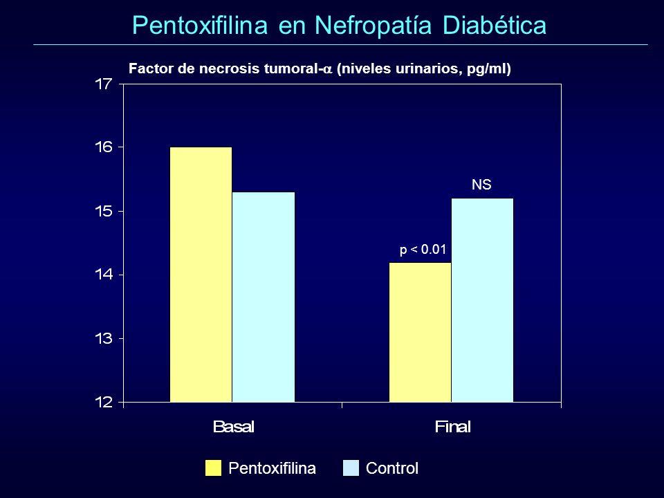 Pentoxifilina en Nefropatía Diabética p < 0.01 PentoxifilinaControl Factor de necrosis tumoral- (niveles urinarios, pg/ml) NS