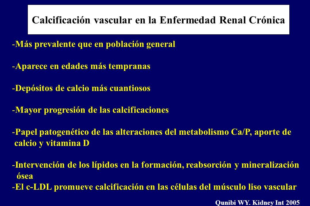 Calcificación vascular en la Enfermedad Renal Crónica -Más prevalente que en población general -Aparece en edades más tempranas -Depósitos de calcio m