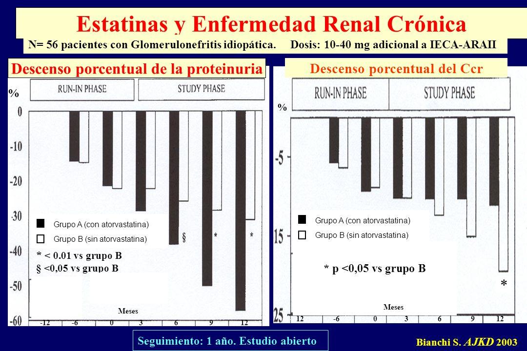 Grupo A (con atorvastatina) Grupo B (sin atorvastatina) -12 -6 0 3 6 9 12 Meses Descenso porcentual de la proteinuria Bianchi S. AJKD 2003 Estatinas y
