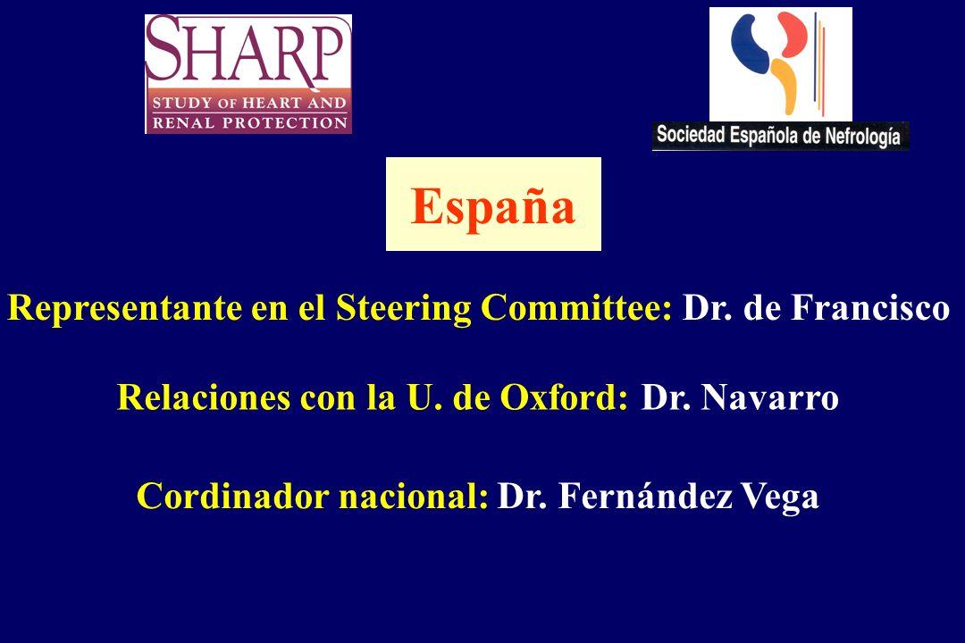 Representante en el Steering Committee: Dr. de Francisco Relaciones con la U. de Oxford: Dr. Navarro Cordinador nacional: Dr. Fernández Vega España